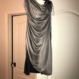 Badgley Mischka Strapless Ruched Gray/Silver Dress
